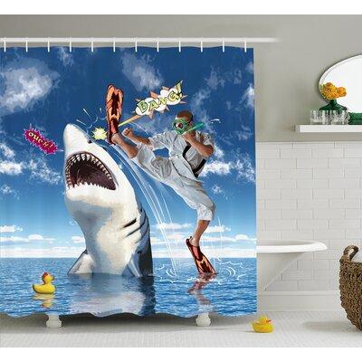 Sealife Unusual Marine Navy Life Animals Fish Sharks With Karate Kid and Comics Balloon Art Shower Curtain Size: 69 W x 75 H