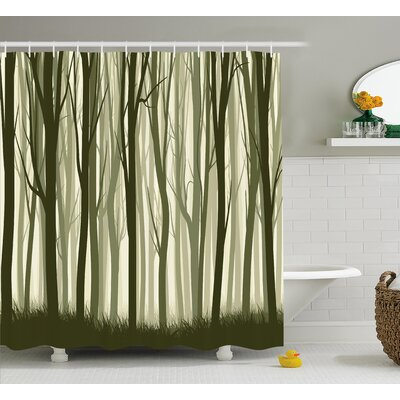 Burdella Mother Nature Theme Illustration of Mystic Forest With Trees Shower Curtain Size: 69 W x 75 H