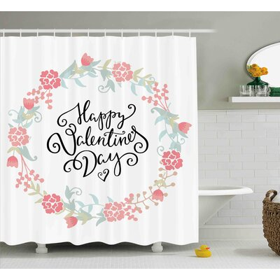 Valentines Day Floral Flowers Buds Roses Tulips Circled Frame Valentine Hearts Shower Curtain Size: 69 W x 70 H