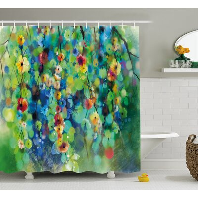Kris Vibrant Blooms Clusters Down From Branch Spring Season Image Shower Curtain Size: 69 W x 75 H
