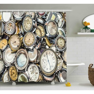 Scarlett Antique Theme a Pile of Several Vintage Clocks Retro Pattern Decorative Design Shower Curtain Size: 69 W x 70 H