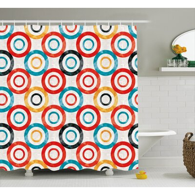 Lesley Retro Trance Pattern Nightclub Theme Modern Decorations Music Art Shower Curtain Size: 69 W x 70 H