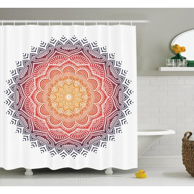 Lottie Mandala Geometric National Kaleidoscope Motif With Gradient Tone Effects Petal Heart Forms Shower Curtain Size: 69 W x 84 H