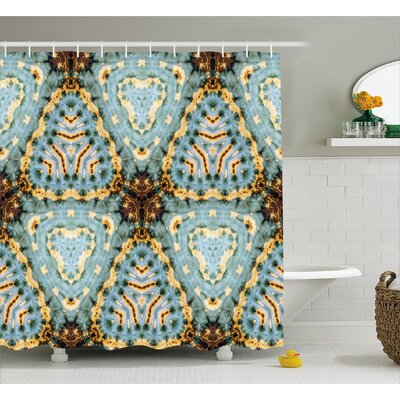 Robles Classic Tie Dye Batik Motif With Bizarre Oriental Multiple Icons Aesthetic Shower Curtain Size: 69 W x 75 H