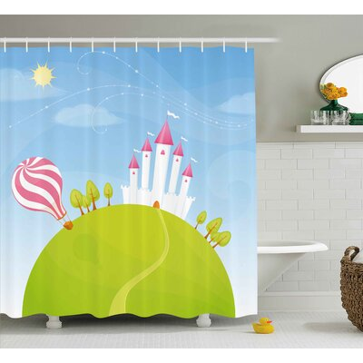 Hester Cartoon Fantasy Castle on Top of The Hills and Hot Air Balloon Shower Curtain Size: 69 W x 70 H