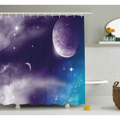 Jeff Universe With Planet and Crescent Moon on Starry Night Sky Science Fiction Design Shower Curtain Size: 69 W x 70 H