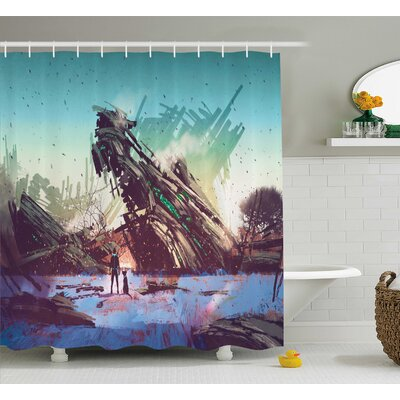 Stephanie a Man and His Dog Looking At Crashed Spaceship Imagination Futuristic Shower Curtain Size: 69 W x 70 H
