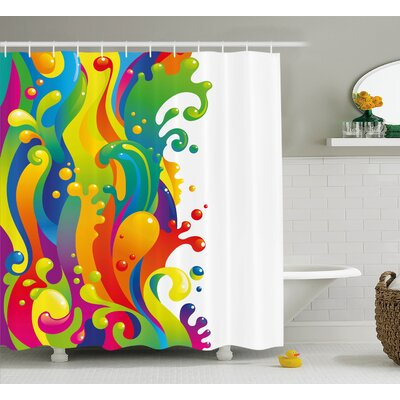 Sherry Digital Made Liquid Wavy Rainbow Color Paint Splash Contemporary Psychedelic Image Shower Curtain Size: 69 W x 75 H