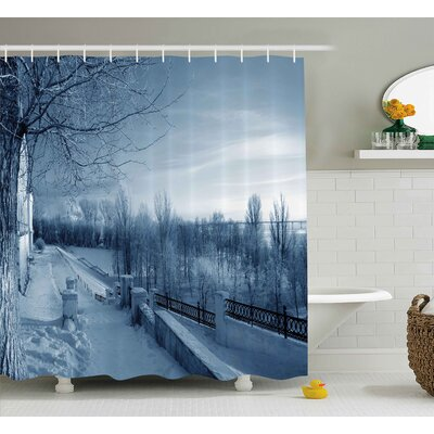 Tonia Winter Ice Cold Frozen Snowy Scenery From Castle Like Balcony With Leafless Branches Art Shower Curtain Size: 69 W x 70 H