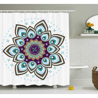 Nijkerk Mandala Boho Lotus Flower Stylized Microcosm Motif Unique Retro Spiritual Theme Shower Curtain Size: 69 W x 70 H