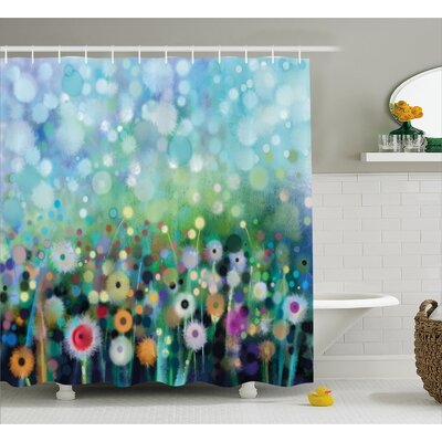 Hailey Dandelion Seeds Shower Curtain Size: 69 W x 84 H