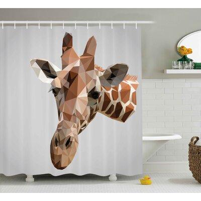 Bouznika Animal African Safari Wildlife Creature Digital Giraffe Modern Triangles Image Artwork Shower Curtain Size: 69 W x 70 H
