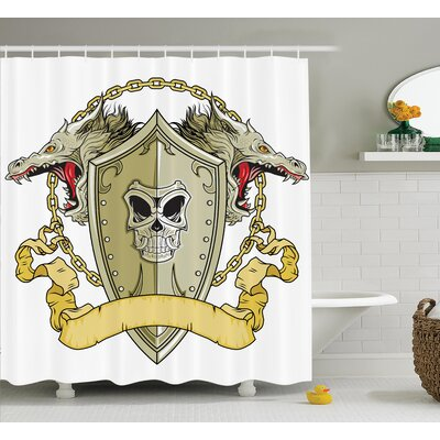 Keesler Dragon Skull Knights Shield With Dragon Head and Scroll Medieval Warrior Myth Theme Shower Curtain Size: 69