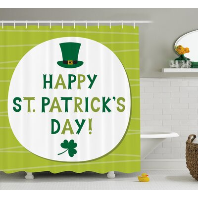St. PatrickS Day Retro Design Religious Celebration Party Irish Hat and Shamrocks Shower Curtain Size: 69 W x 70 H