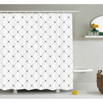 Kavanagh Fleur De Lis Shabby Elegance Damask Pattern With Vintage Kitsch Geometric Diamond Lines Shower Curtain Size: 69 W x 70 H