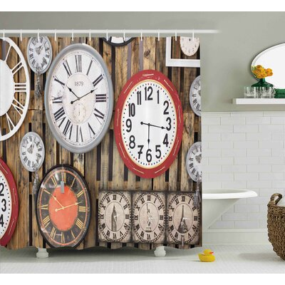 Hubbard Antique Clocks on The Wall Instruments of Time Vintage Decorative Pattern Shower Curtain Size: 69 W x 70 H