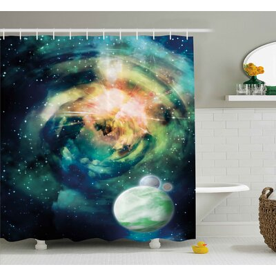 Devin Spiral Anromeda Galaxy With Planets Mystical Cosmos Fantasy Background Image Shower Curtain Size: 69 W x 70 H