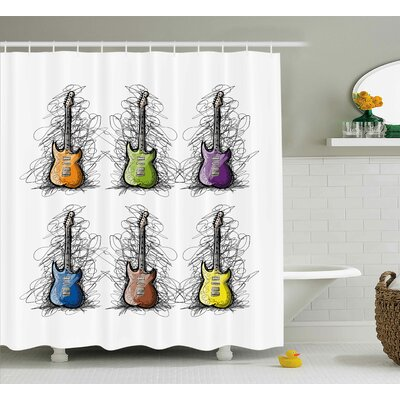 Johanna Music Sketchy Lined Colored Design Guitar Collage For Teens Rocker Song Lovers Image Shower Curtain Size: 69 W x 70 H
