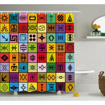 Leta Primitive African Ethnic Collage Shower Curtain Size: 69 W x 70 H