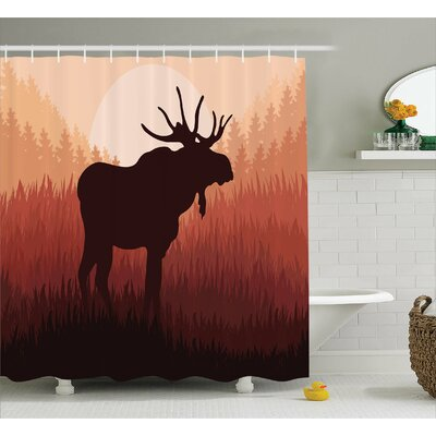 Cervantes Moose Antlers Shower Curtain Size: 69 W x 70 H