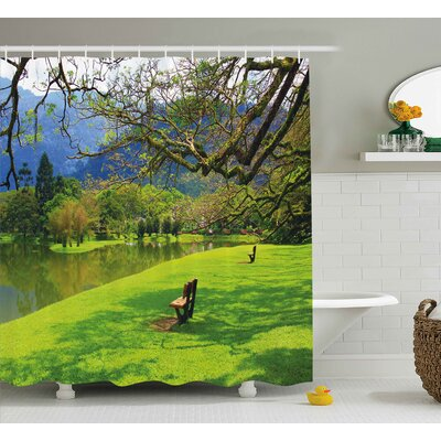 Melinda Nature Panoramic View of Public Lake Garden At Asian Park Idyllic Landscape Shower Curtain Size: 69