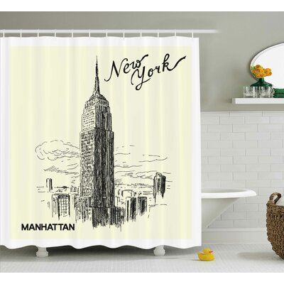 Logan New York Urban Decor Architecture Theme Skyscrapers Shower Curtain Size: 69 W x 70 H
