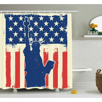 4th of July Independence Day Design With Star Button and Sunburst Stripes Artsy Image Shower Curtain Size: 69 W x 70 H