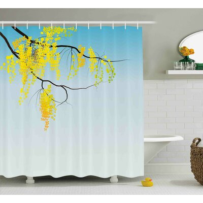 Jannie Floral Modern Print Like Image Tree Branch With Flowers Buds  Artwork Shower Curtain Size: 69 W x 70 H