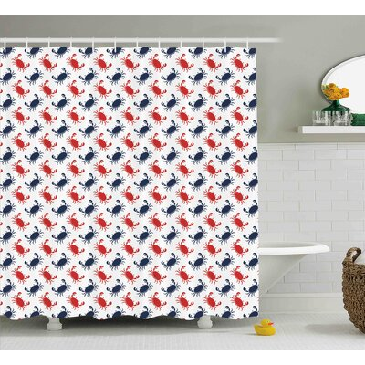 Duane Crabs Sea Animals Theme Crabs on White Background Vintage Pattern Decorative Print Shower Curtain Size: 69 W x 84 H