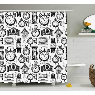 Violet Clock Hand Drawn Clocks and Watches Illustration Vintage Decorative Pattern Shower Curtain Size: 69