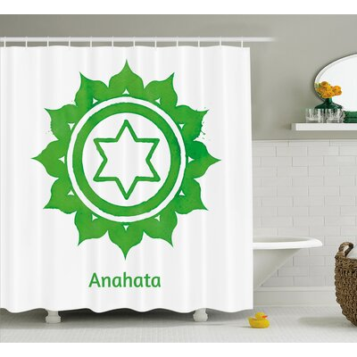 Lupe Chakra Anahata Wheel With Star Pattern Shower Curtain Size: 69 W x 70 H