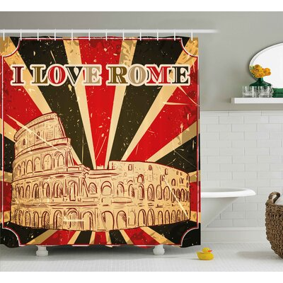 Aiden Quote I Love Rome Lettering With Circus Tent and Bold Stripes Ancient Shower Curtain Size: 69 W x 70 H