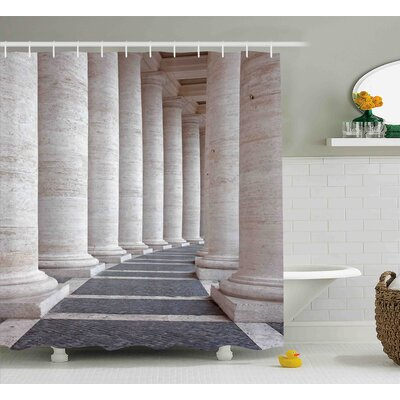 Heather Ancient Theme Roman Columns Stone Old Architecture Digital Image Shower Curtain Size: 69 W x 75 H