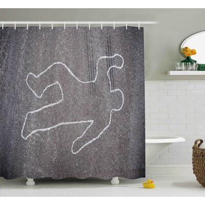 Christian Modern Crime Scene Investigation on a Road Street Murder Chalk Drawn Art Image Shower Curtain Size: 69 W x 70 H