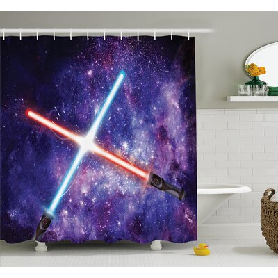 Haley Galaxy Illustration of Light Sword Shower Curtain Size: 69 W x 70 H