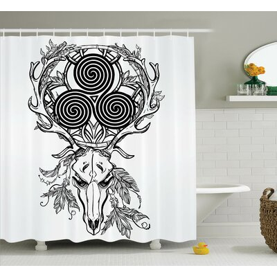 Theo Deer Skull With Native American Indian and Celtic Spiral on Horns Boho Image Shower Curtain Size: 69 W x 75 H