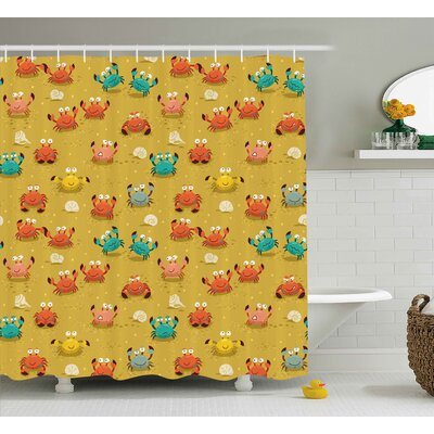Buda Crabs Sea Theme Cartoon Style Illustration of Cute Crabs Stars and Shells Pattern Shower Curtain Size: 69 W x 70 H