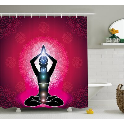 Meredith Chakra Maroon Silhouette of Yoga Woman With Cores With Neon Featured Boho Design Shower Curtain Size: 69 W x 70 H