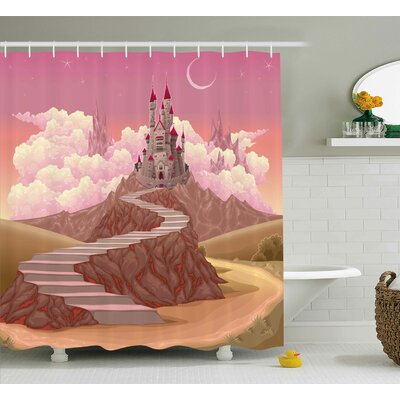 Eduardo Fairytale Princess Castle Cartoon Like Image on The Hill With Sunset Image Art Print Shower Curtain Size: 69 W x 70 H