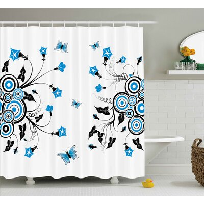 Cheri Landscape Nature Theme Flowers Circles and Leaves Flying Butterflies Print Shower Curtain Size: 69 W x 70 H