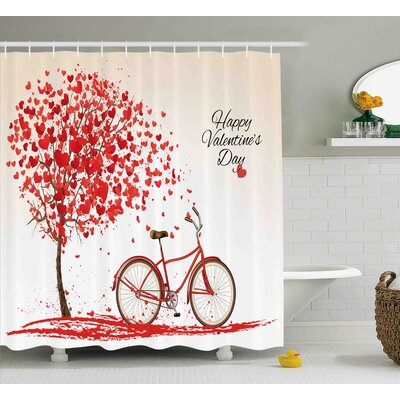 Valentines Day Romantic Tree Made of Blooming Red Hearts With Bike and Petals Vintage Art Shower Curtain Size: 69