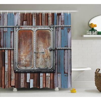 Lucius Rustic Wooden Colored Planks With Old Rusty Metal Ship Door Sea Life Print Shower Curtain Size: 69 W x 70 H