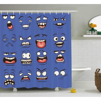 Catherine Emoji Smiley Surprised Sad Fierce Happy Sarcastic Angry Mood Faces Expressions Plain Art Print Shower Curtain Size: 69 W x 75 H