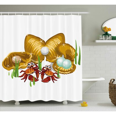 Buckingham Crabs Sea Life Theme Cartoon Style Three Gold Shells With Pearls and Crabs Print Shower Curtain Size: 69 W x 70 H