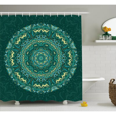 Nijmegen Mandala Religious Eastern Ancestral Circle Form With Swirling Leaves Revival Retro Design Shower Curtain Size: 69 W x 70 H