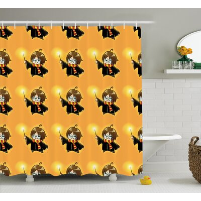 Elvia Cartoon Wizard Character With Glasses Shower Curtain Size: 69 W x 70 H