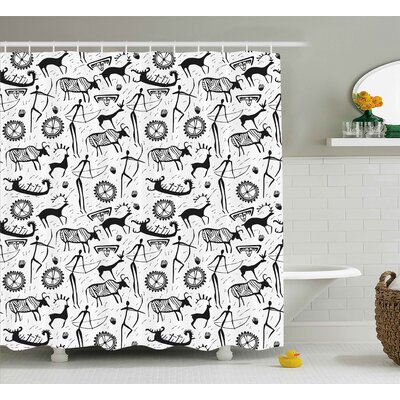 Castlereagh Tribal African Primitive Pattern With Cultural Mask Animal and Arrows Folk Design Shower Curtain Size: 69 W x 70 H