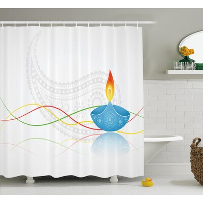 Amstelveen Diwali India Religious Festive Fire Candle Image With Modern Paisley Backdrop Print Shower Curtain Size: 69 W x 75 H