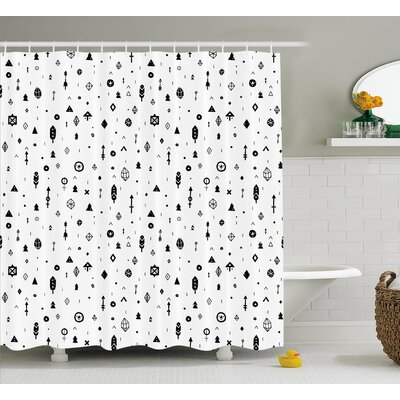 Kristy Tribal Plain Background With Arrows Feathers and Aztec Style Geometric Print Shower Curtain Size: 69 W x 70 H