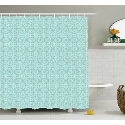 Rachel Aqua Twisted Crossed Repeating Circle Figures and Bent Line Webs Graphic Decor Shower Curtain Size: 69 W x 75 H